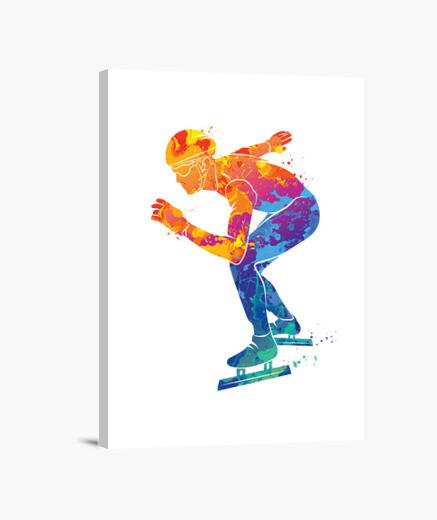 Lienzo patinaje sobre hielo acuarela