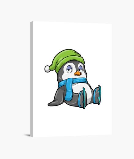 Lienzo pingüino en patinaje sobre hielo...