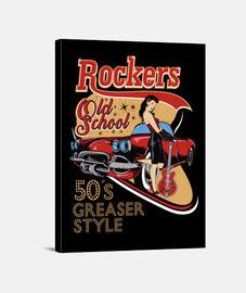 Lienzo Pinup Rockers Vintage Rockabilly Music  1950s USA Rock