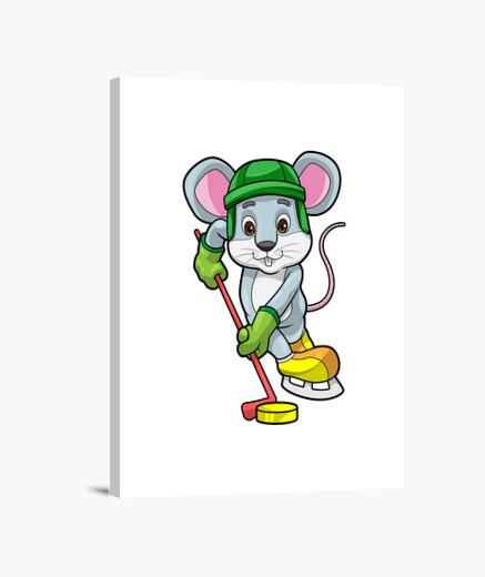 Lienzo ratón en hockey sobre hielo con...