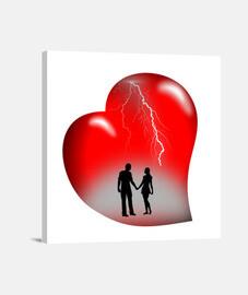 lienzo rayos corazón rojo