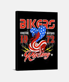 Lienzo Retro Bikers 1972 Custom Motorcycle 70s USA 1970s