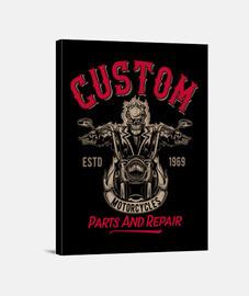 Lienzo Retro Bikers Custom Garage 60s 70s Rock Music USA Motorcycles