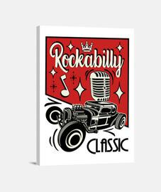 Lienzo Retro Música Rockabilly Hotrod Vintage Rocker USA Rock and Roll