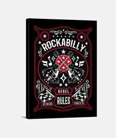 Lienzo Retro Música Rockabilly Rockers Vintage Rock and Roll USA Guitarras