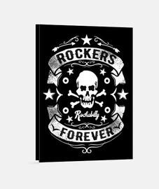 Lienzo Retro Rock Calavera Rocker Rockabilly Rock N Roll Vintage Bikers