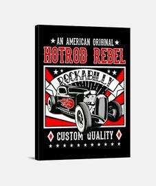 Lienzo Retro Rockabilly Hot Rod Vintage Rock and Roll Rockers USA