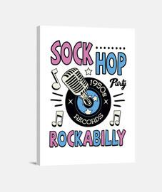 Lienzo Retro Sock Hop Dance Party Vintage Música Rockabilly USA Rock and Roll 1950s