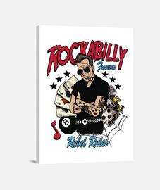 Lienzo Rock Rockabilly Music Psychobilly Vintage Rockers Rock and Roll Bikers