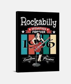 Lienzo Rockabilly Music Pinup Memphis Tennessee 1956 USA Rockers 1950s