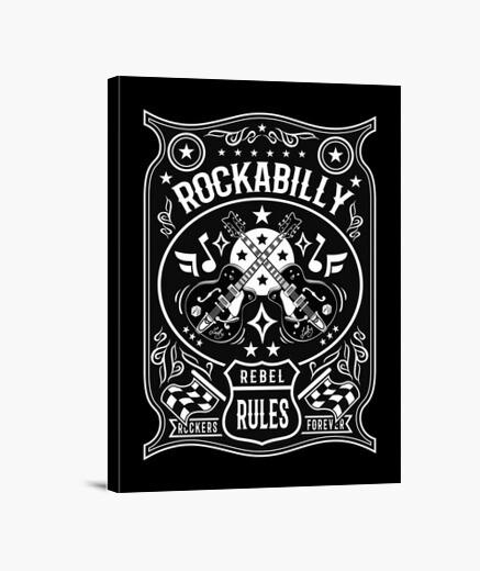 Lienzo Rockabilly Rockers Vintage Rock and Roll Bikers USA Rock Music