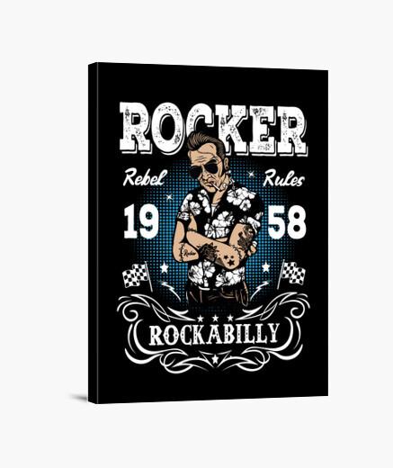 Lienzo Rocker Rockabilly 1958 Retro Rock