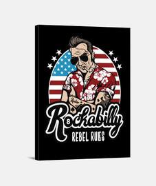 Lienzo Rockera Retro Rockabilly Music Rocker Biker Vintage Rock USA Rock and Roll Rockers