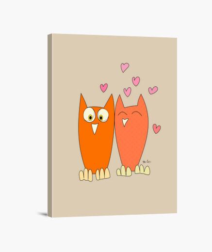 Lienzo Romántica pareja de divertidos búhos