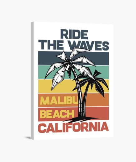 Lienzo Summer Surfing California Malibú...