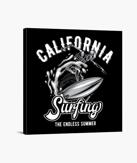 Lienzo Surfing California Skull Summer...