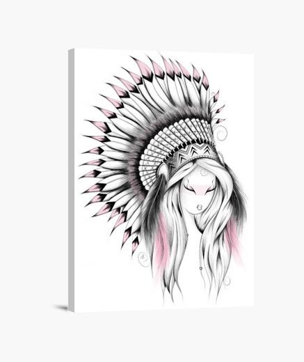 Lienzo tocado de indio versión de color rosa