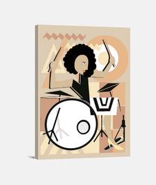 Lienzo Vertical 30 x 40 cm Mujer Bateria Cubismo