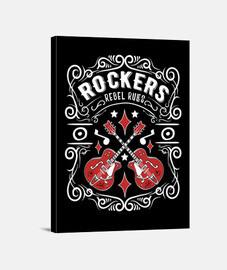Lienzo Vintage Rock Rockers Rockabilly Music Guitarras Retro Rock and Roll USA