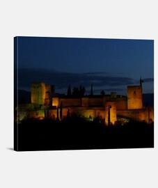 Lienzo vista nocturna Alhambra