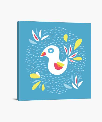 Lienzo lindo pájaro abstracto en primavera