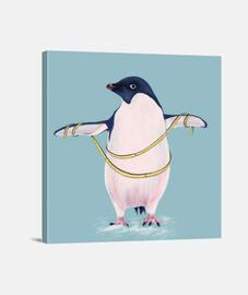 lindo pingüino gordo va a dieta