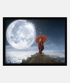 Lion Under the Moon(40 x 30 cm)