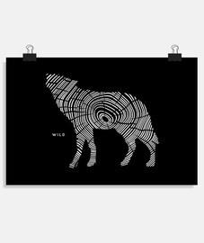 loup en bois sauvage