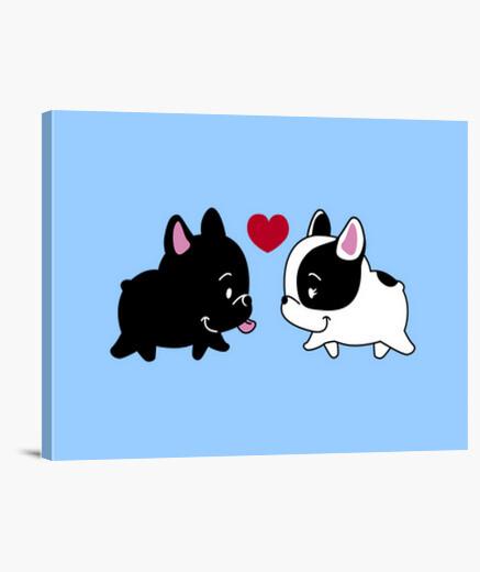 Love bulldog frences in love canvas