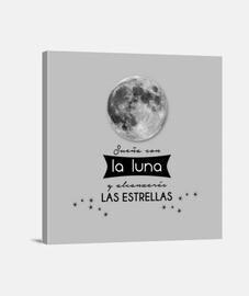 Luna llena, estrellas, frase motivadora Lienzo Cuadrado 1:1 - (40 x 40 cm) Luna llena, estrellas, fr