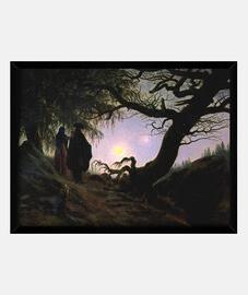 l'uomo e donna contemplando la luna