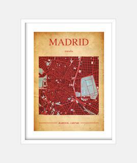 Madrid Map - Cuadro con marco blanco vertical 3:4 (15 x 20 cm)