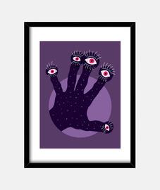 main bizarre avec des yeux qui regarden
