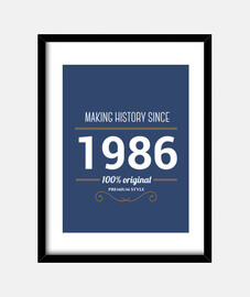 Making history 1986 white text