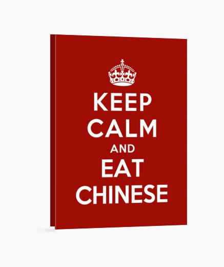 Lienzo mantén la calma y come comida china