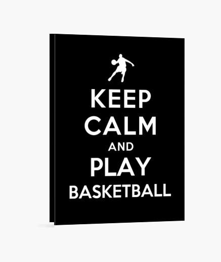 Lienzo mantén la calma y juega baloncesto