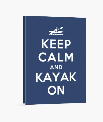 Lienzo mantener la calma y kayak en