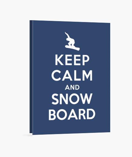 Lienzo mantener la calma y snowboard en