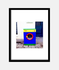 Maquina de Lavar - Cuadro con marco negro vertical 3:4 (15 x 20 cm)