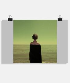 Mar, horizonte, relajación, mujer