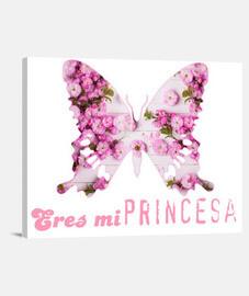 Mariposa Rosa, Eres mi princesa, Decoracion Habitacion Infantil, Cuadro para niña Lienzo Horizontal