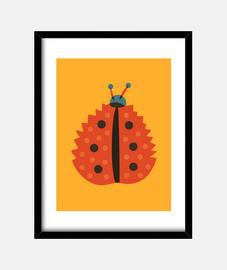 mariquita naranja con máscara de hoja de otoño