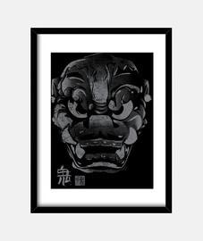 máscara japanischen dämon kanji grau