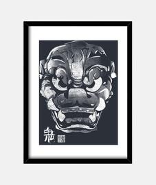 máscara japanischen dämon kanji weiß