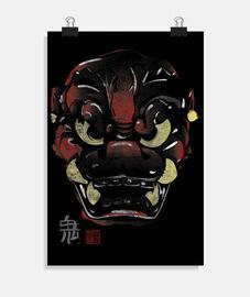 Máscara Japonesa Demonio Kanji