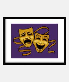Máscaras de teatro de comedia y tragedi