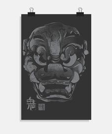 masque japonaise kanji démon gris