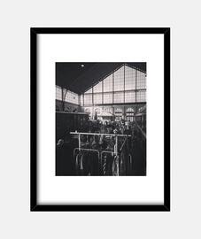 Mercadillo - Cuadro con marco negro vertical 3:4 (15 x 20 cm)