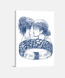 Mi basia mille, Mujer, Lienzo Vertical 3:4 - (30 x 40 cm)