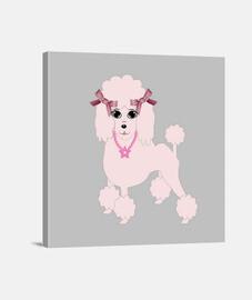 mi caniche de color rosa